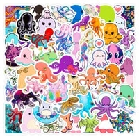 50pcspack cute cartoon octopus stickers kids toy waterproof pvc octopus stickers stationery decals for laptop luggage bicycle