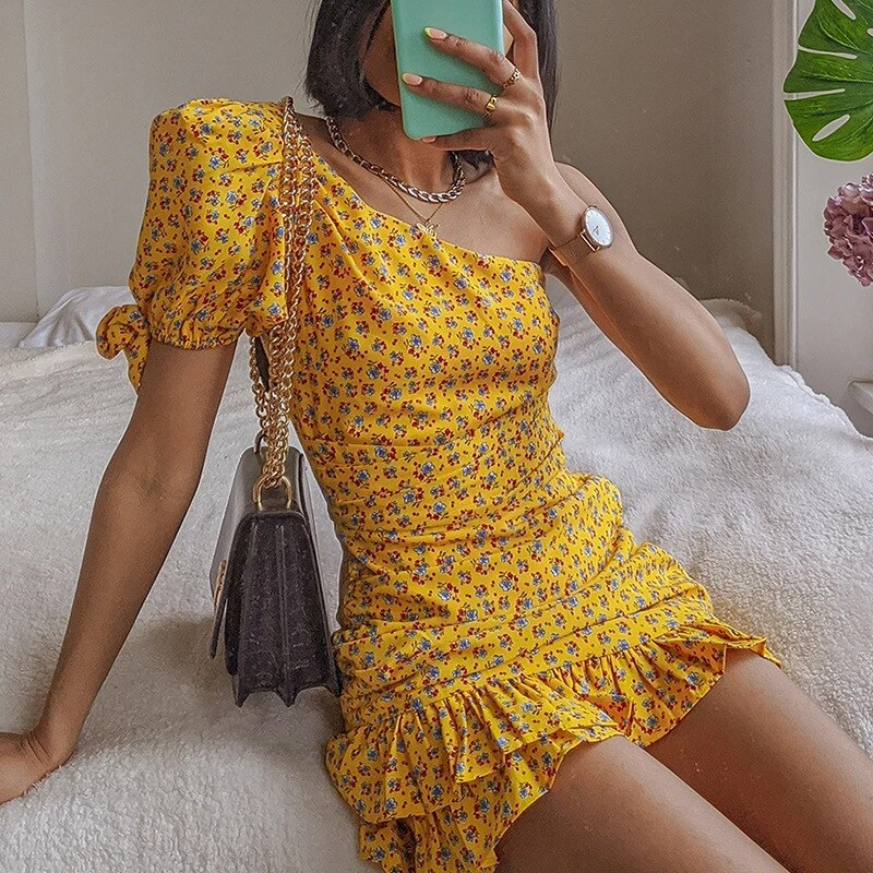 hirigin Floral Printed Retro Dress Vintage Ruffles Short Sleeve Boheme Chic One Shoulder Mini Ruched Empire Summer 2021