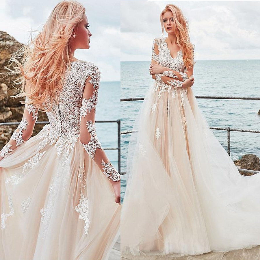 Exquisite Tulle V-neck Neckline A-line Wedding Dress With Lace Appliques Elegant Nude Long Sleeves Bridal Gowns