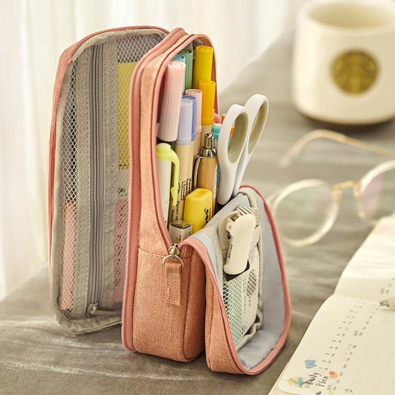 Angoo Normcore Pen Bag Pencil Case Two Layer Foldable Stand Fabric Phone Holder Storage Pouch for Stationery Office School A6171