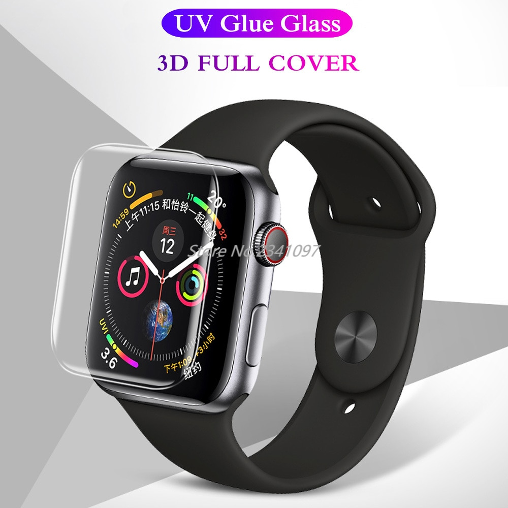 100d curved tempered glass for apple watch series 38 40 42 44 38 42mm hd screen protector film for iwatch 5 4 3 2 1 full glue 20D Full Coverage Tempered Glass For Apple Watch 38 42 40 44mm Screen Protector For Watch 6 5 4 3 2 Series UV Glue Protect film