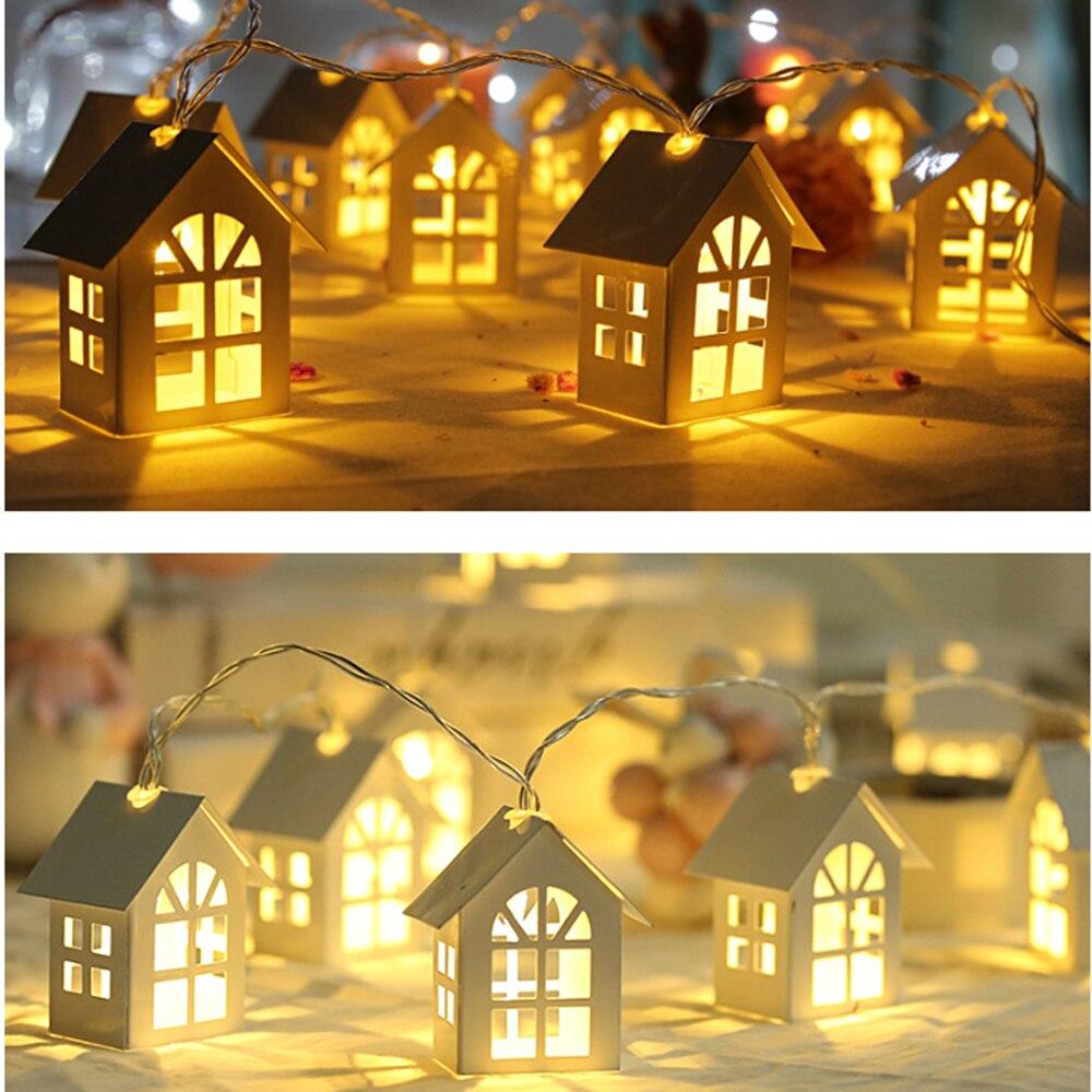 2 м 10 светодиодный Светодиодный светильник с батареей для рождественского декора в форме дома, сказочный светильник для рождественской елк...