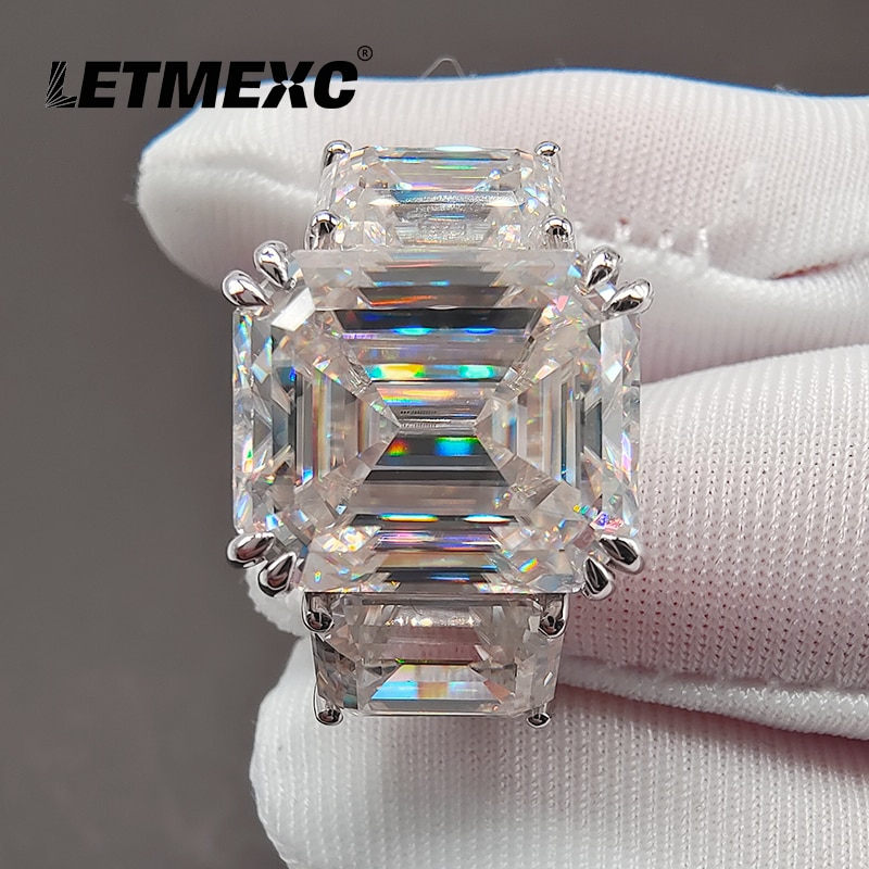 LETMEXC high-end Emerald Cut Moissanite ring customized D Color main stone 10x12mm secondary stone 6x8 VVS1 with Certificate