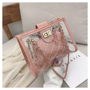 Aosbos Women PU Leather Composite Bag Transparent Crossbody Bags 2020 Fashion Small Chain Shoulder Bag Damiond Lattice Handbags