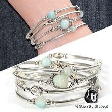 Mulheres boho natural pedra pulseiras laryers cristal tigre olho lava pedra onyx contas tubo de cobre pulseiras pulseira jóias