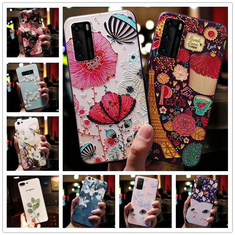 6.7'' For Samsung A Quantum Case 3D Flower Emboss Silicone Phone Cover For Samsung Galaxy A Quantum Case Relief Soft A31
