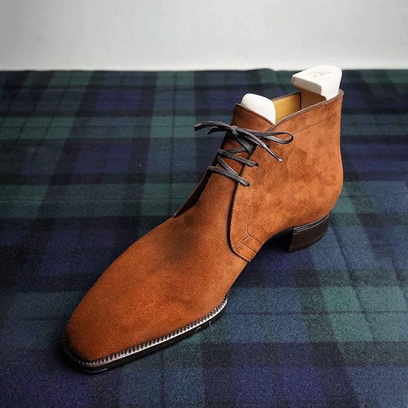 Zapatos De encaje De gamuza hechos a mano para Hombre, botas De...