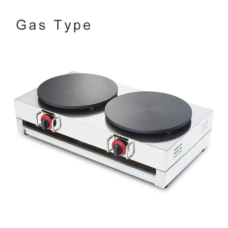 Fabricante comercial de crepé de Gas doble quemador 220 v/110 v máquina de tortitas de Gas crepé que hace la máquina NP-586