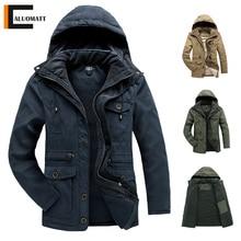 Winter Men Hooded Parkas Jacket Mid-length Fleece Thick Cotton-padded Jackets Men Multi-pocket Casua