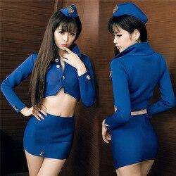 Jimiko polícia sexy uniforme sexy saia sexy para traje de sexo cosplay aeromoça sexy lingerie erótica slutty adulto sex play nightclub