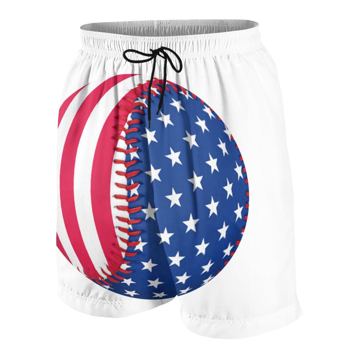 Baseball American Flag Teenagers Comfortable Fashion Fitness Joggers Quick-dry Cool Short Sweatpants
