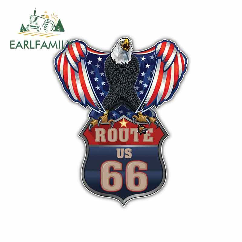 EARLFAMILY 13cm x 10.4cm for USA Flag Eagle Route 66 Car Stickers Vinyl JDM Bumper Trunk Truck Graphics DIY Fine Decal Helmet