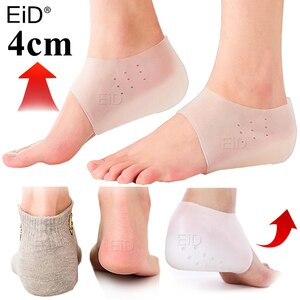 Invisible Height Increased Insole Silicone Heel Socks for Women Men insoles 2.5cm insoles for plantar fasciitis shoe sole White