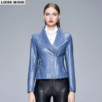 spring autumn pu leather jacket women fashion zipper slim short jackets and coats ladies motorcycle biker stand collar outerwear