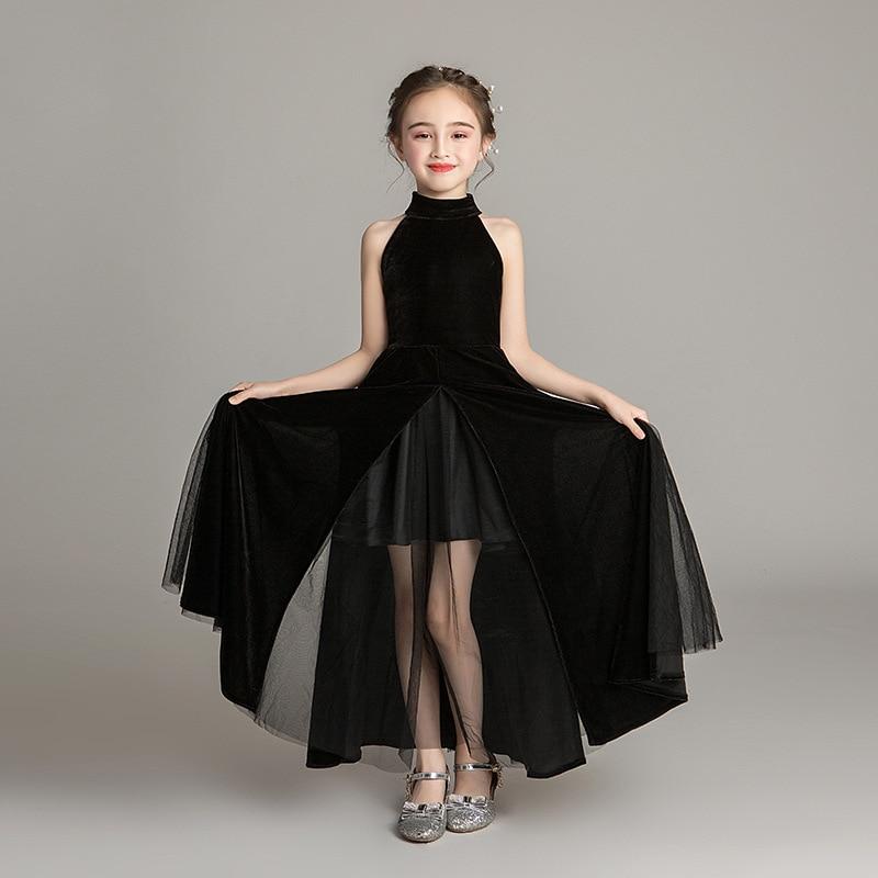 فساتين سهرة للبنات 2021 للأطفال أنيقة الأميرة بلا أكمام فستان أسود للحفلات عرض أزياء الزفاف ملابس الأطفال 14 Y