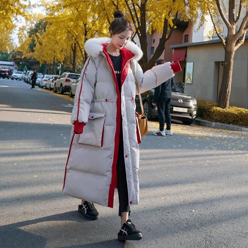 Long Down Jacket 90% White Duck Snow Wear Luxurious Rabbit Fur Collar Down Coat Winter Fashion Thick Warm Plus Size Bubble Coat