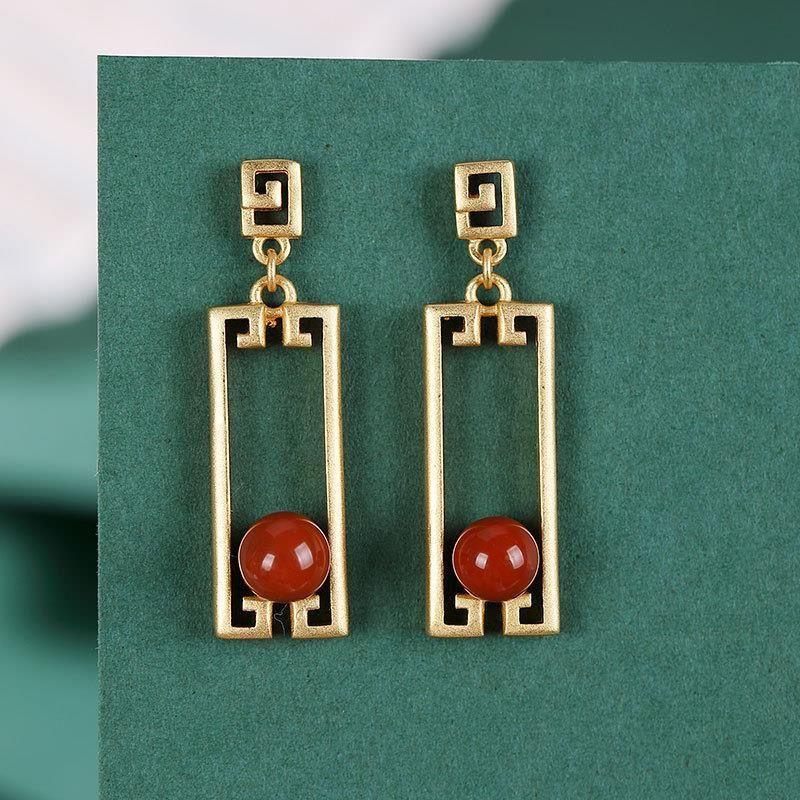 Prata esterlina incrustada natural sul vermelho ágata brincos estilo chinês retro retangular geometria única marca feminina jóias