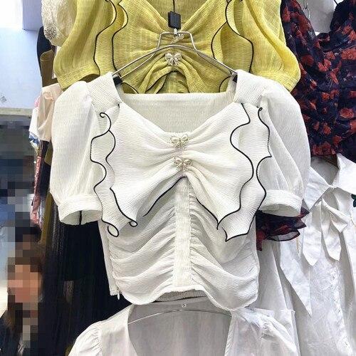 اقتصاص بلوزة للنساء 2021 الصيف جديد مزاجه كشكش حجر الراين اللؤلؤ القوس الديكور جميع مطابقة قميص سيدة القمم