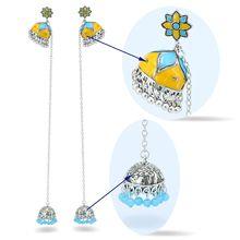 Boho jaune bleu fleur cloches longues gland boucles doreilles boucles doreilles indiennes pour les femmes été fête boucle doreille déclaration Oorbellen