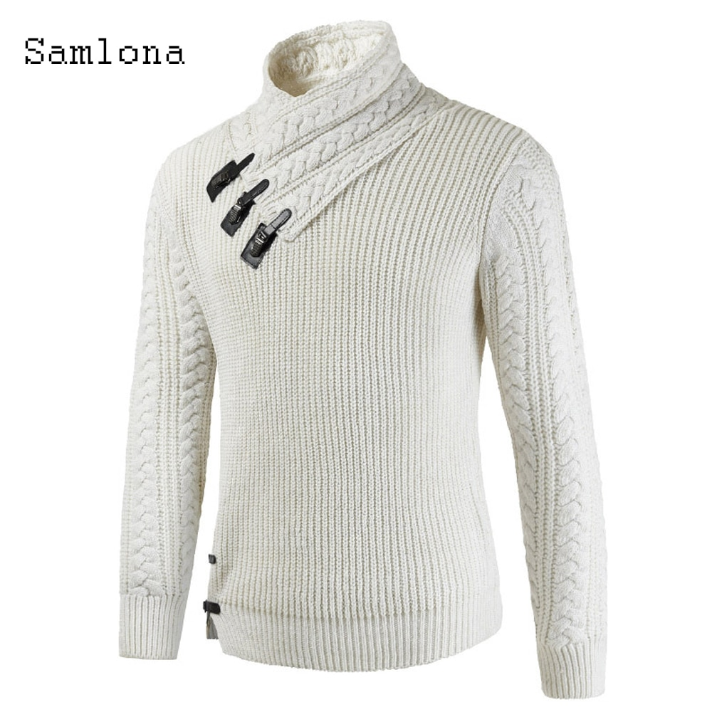 2020 Knitting Sweater Turtleneck Mens Autumn New Casual Patch Design White Gray Sweaters Pullovers Homme Men Winter Warm Clothes