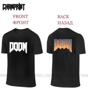 Men's Two Sides T-Shirts DOOM Pure Cotton Tee Shirt Short Sleeve Front and Back T Shirts Crewneck Clothes Birthday Present