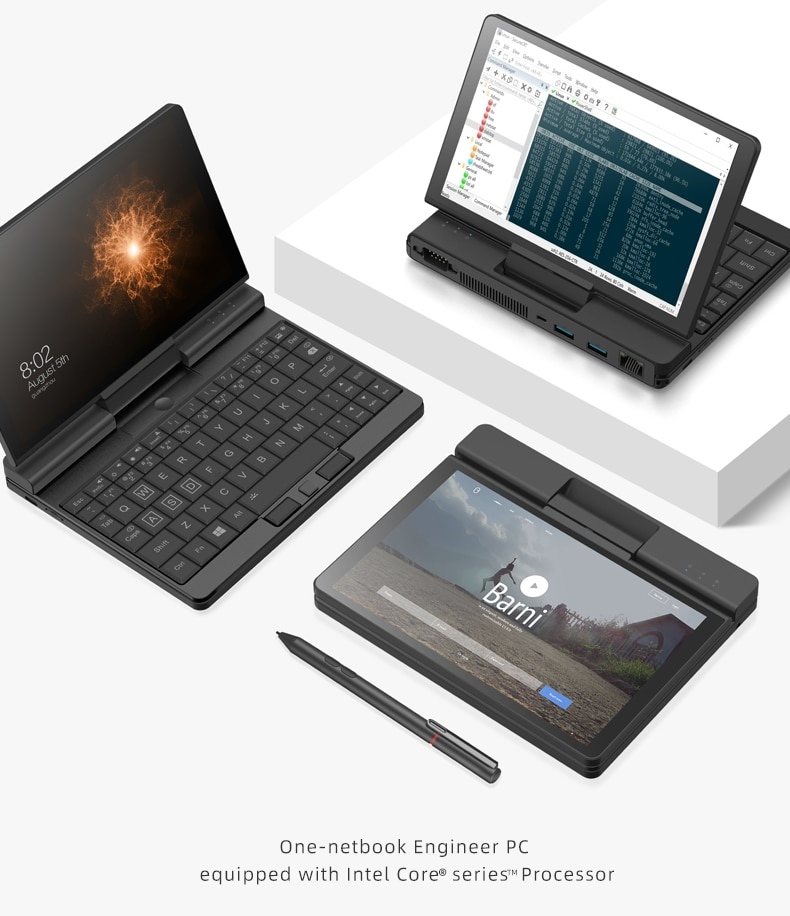 كمبيوتر لوحي One-Netbook بشاشة تعمل باللمس مقاس 7 بوصات ، كمبيوتر جيب M3 8100Y ، مع بصمة إصبع S232 أصلية ، ذاكرة وصول عشوائي 8 جيجا بايت ، 512 جيجا بايت