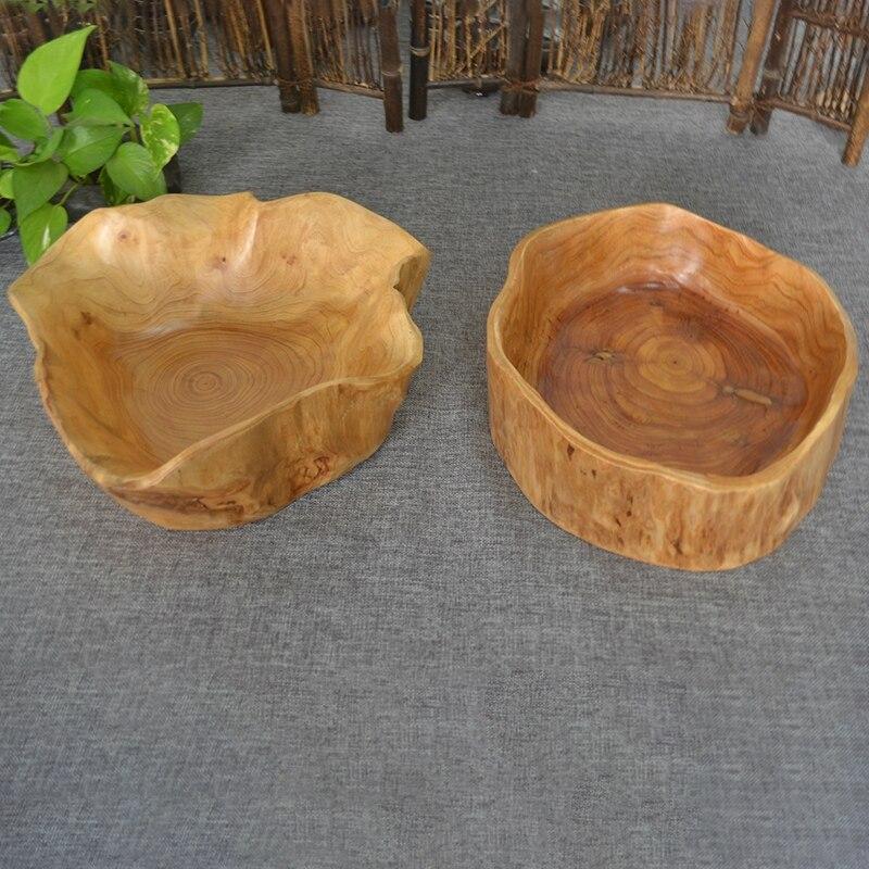 Бытовая чаша для фруктов, деревянная тарелка для конфет, тарелка для фруктов, тарелка для фруктов с резьбой по дереву, 20-24 см-3