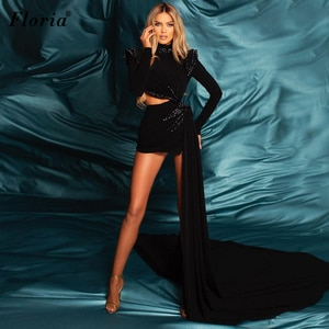High Fashion Long Sleeves Black Celebrity Dresses Beads Mini Photography Dresses For Women Formal Prom Party Dresses платье 2021
