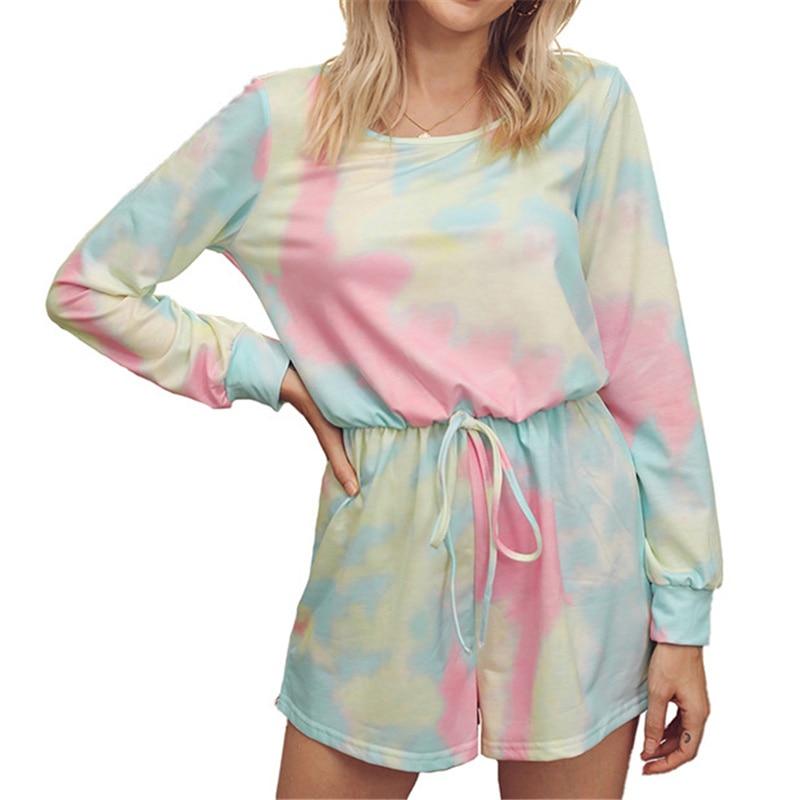 2020 outono e inverno novos ternos femininos europeus e americanos venda quente tie-dye t-shirts shorts serviço de casa
