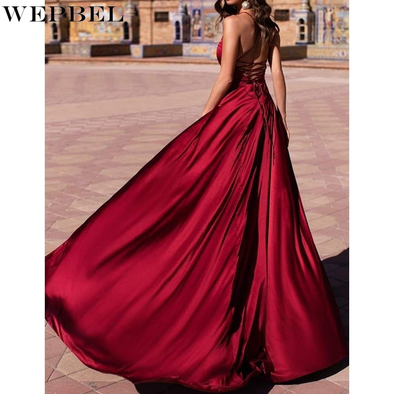 WEPBEL V-neck Solid Color Dress Summer Slim High Waist Slit Dress Women's Sexy Sleeveless Spaghetti Strap Backless Dress attractive spaghetti strap embroidery high slit maxi dress for women