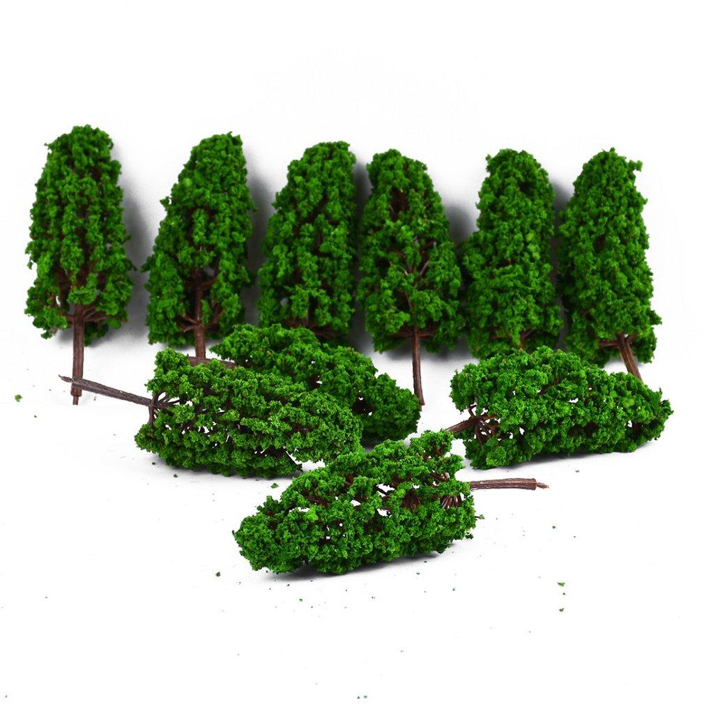 10PCS Ho Scale פלסטיק מיניאטורי דגם עצים לבניית רכבות רכבת Wargame פריסת נוף נוף דיורמה אבזרים
