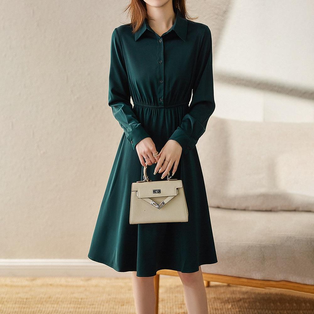 Autumn Women Dresses 2021 Elastic Waist Slimming Turn-down Collar Collar Midi Dress Ladies' Temperament Clothing Female Vestidos