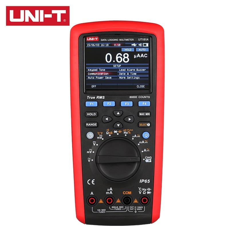 UNI-T رقمي متعدد UT181A تسجيل البيانات 20000 Cpture صحيح RMS مرشح تمرير منخفض NS التوصيل المزدوج قياس درجة الحرارة