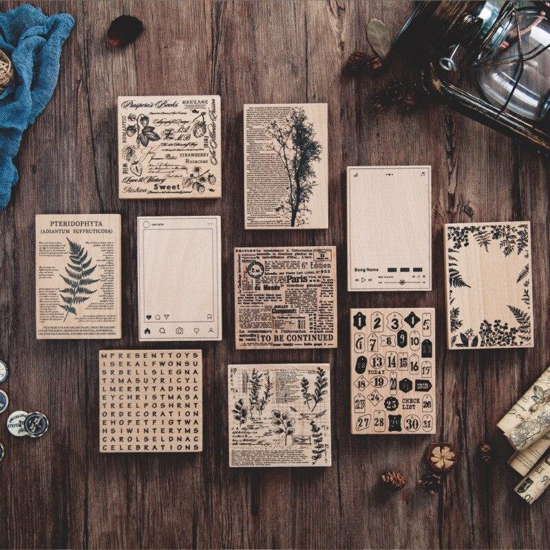 רטרו אנגלית מכתב צמח האלפבית רקע חותמת בציר DIY עץ גומי בולים רעיונות מכתבים סטנדרטי חותמת