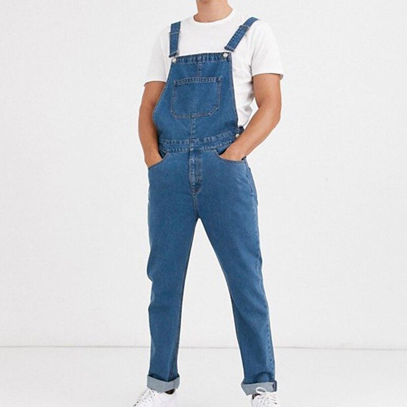 2021 Men Jeans Jumpsuit Pockets Fitness Suspenders Streetwear Bib Rompers Casual Pants Oversized Men Overalls Pantalones Hombre