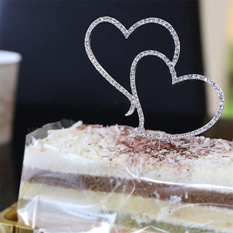 Decoración romántica para pastel, diamantes de imitación de cristal, plata, corazón doble, decoración de boda, decoración de Año Nuevo