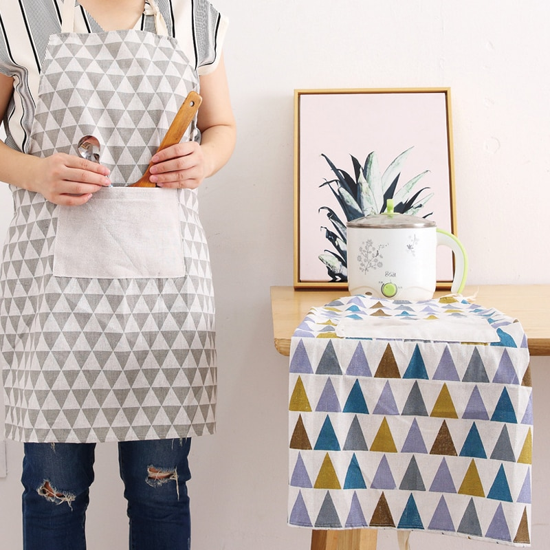 New Hot Fashion Lady Linen Apron Adjustable Cotton High-grade Kitchen for Cooking Baking Restaurant Pinafore