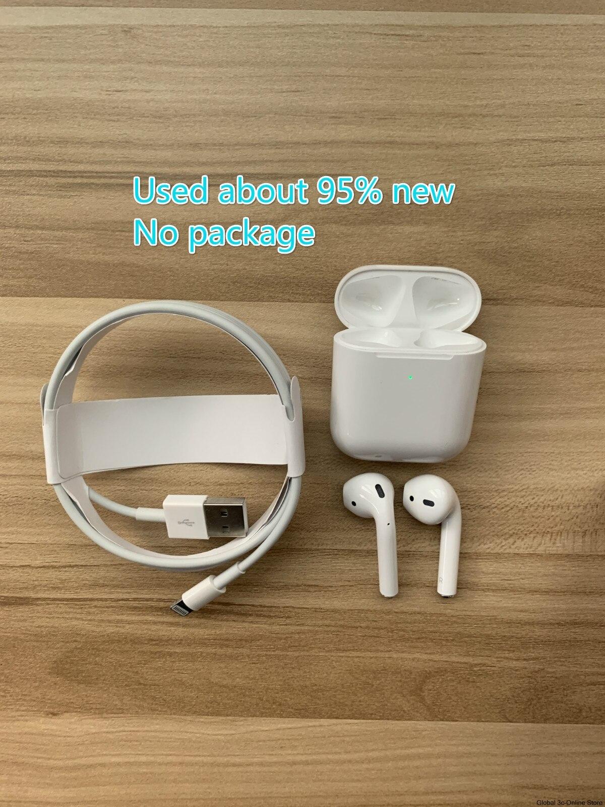 تستخدم أجهزة Apple AirPods 2nd مع علبة شحن سماعات بلوتوث سماعات لاسلكية نغمات توصيل سيري آيفون آي باد ماك