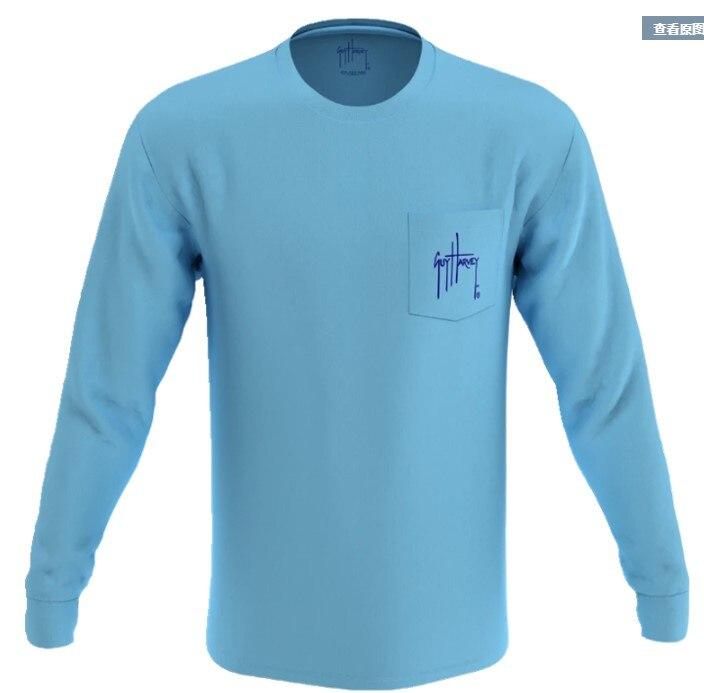 Guy harv * y camisa de pesca homem camisas de pesca secagem rápida suave proteção solar upf30 + camisas de pesca ls tamanho eua S-XXL