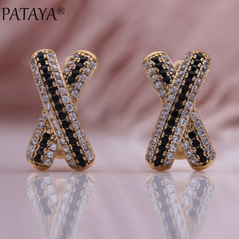 Pataya nova única letra x balançar brincos feminino inverno moda jóias 585 rosa de ouro preto branco natural zircão casamento brinco