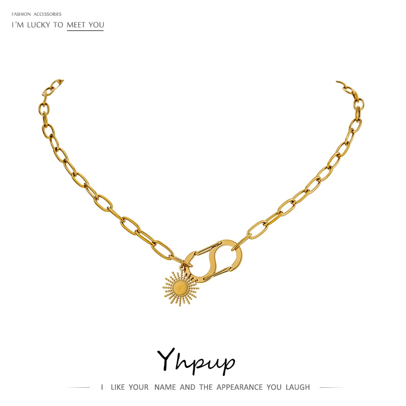 Yhpup 2020 316L en acier inoxydable collier pendentif soleil fleur irrégulière Bijoux Chic métal tour de cou filles collier Bijoux Femme cadeau