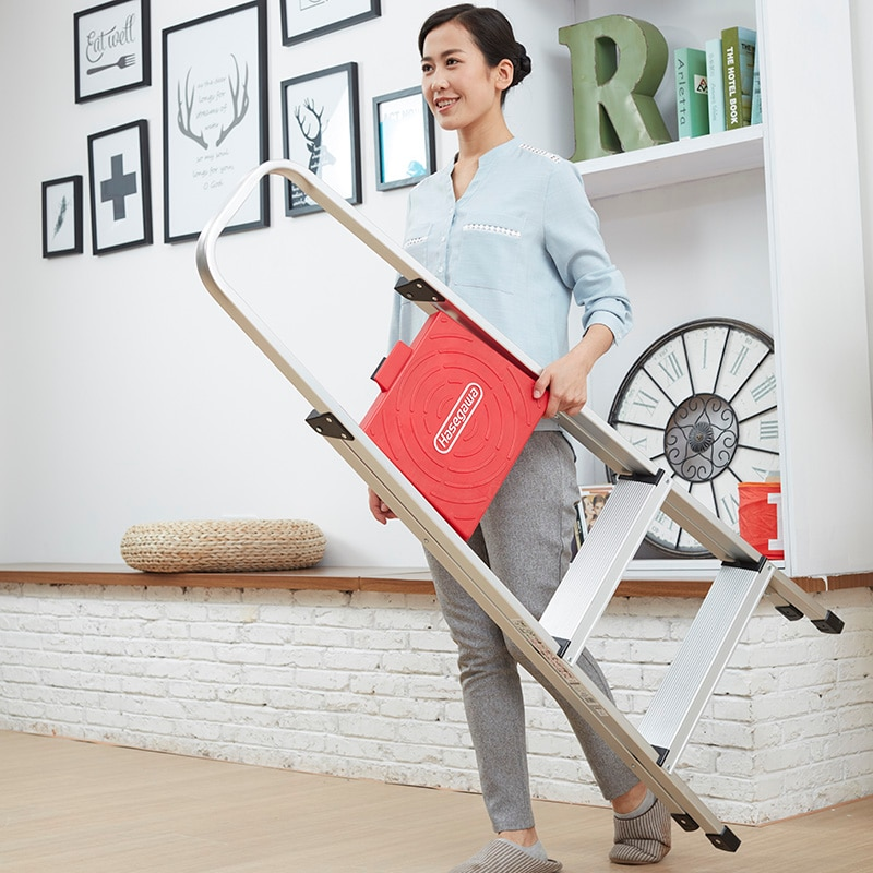 Hasegawa step ladder Aluminum alloy household multifunctional folding ladder thickened wide pedal handrail 3 step simple style