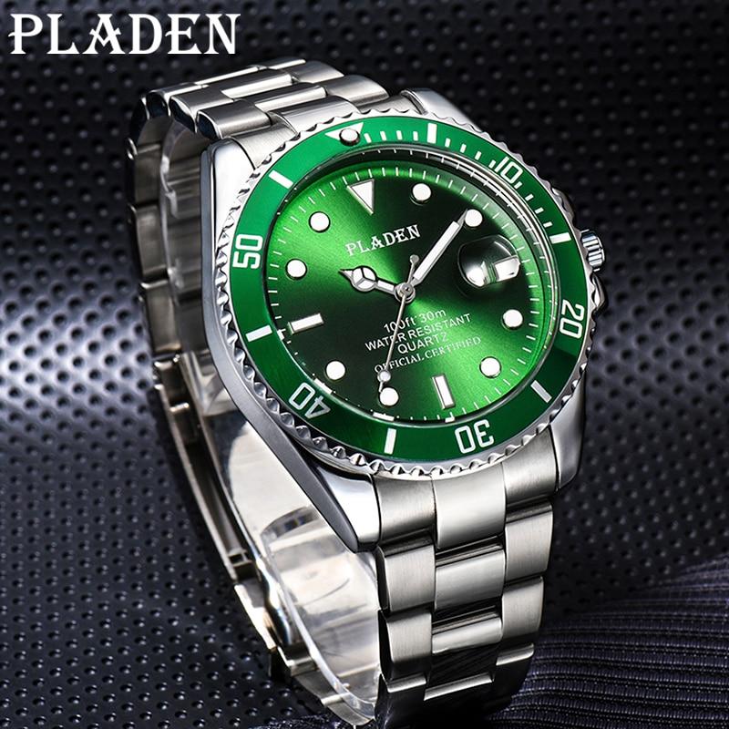 PLADEN Men's Watches Top Brand Business Quartz Clock Male Full Stainless Steel 30M Waterproof Shockproof Green Luxury WristWatch