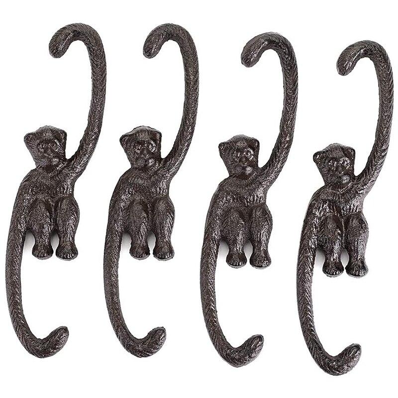1 Set of 4 Heavy Duty Cast Iron S Monkey Hooks - 8 Inch Decorative Metal Plant Hooks Hangers S Shaped Bracket