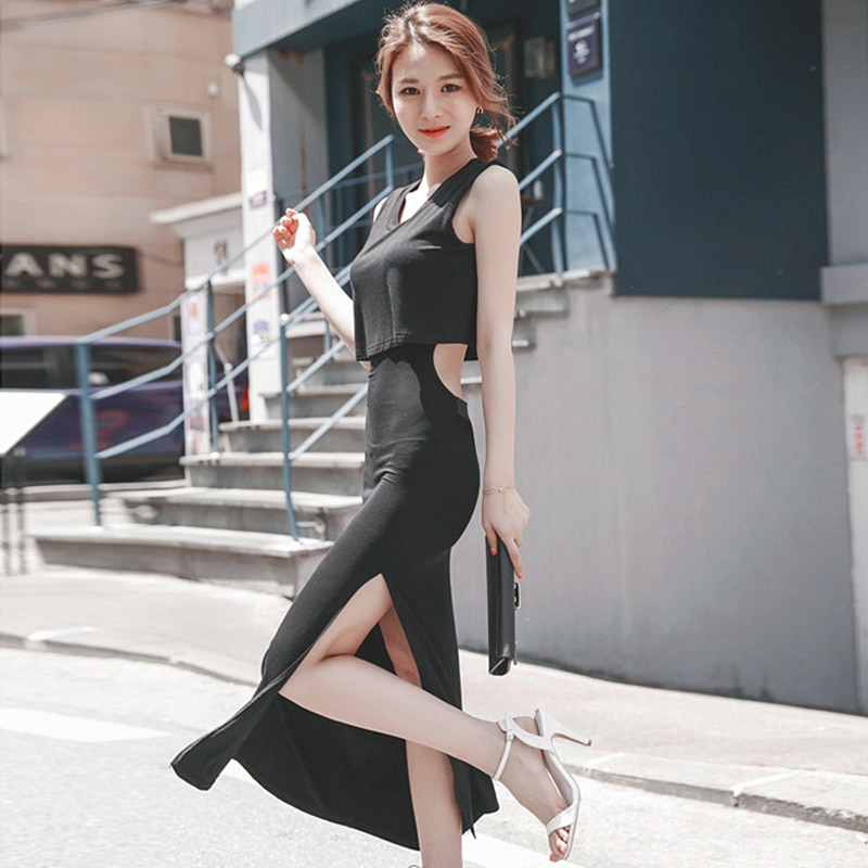 2021summer New Korean Style Women's round Neck Midriff Outfit Sexy High Split One-Step Long Dress