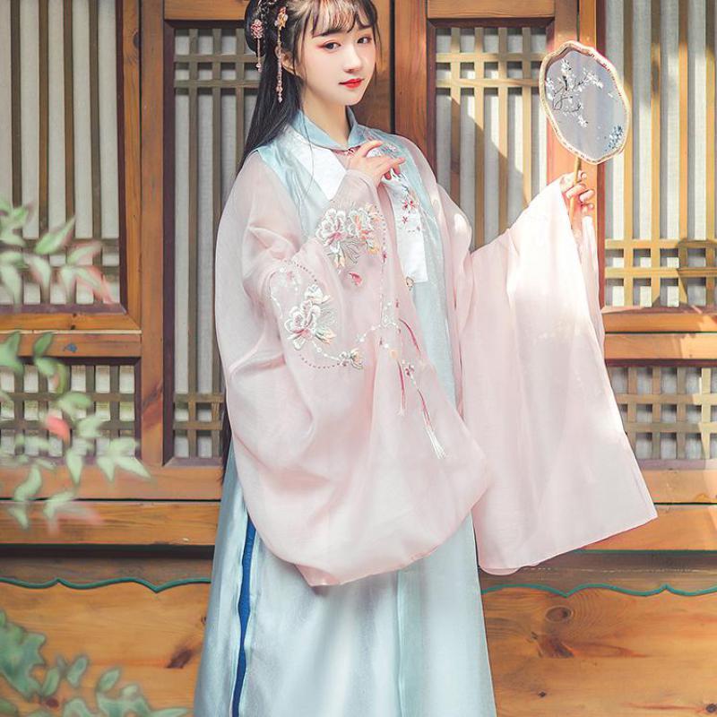 بدلة زهرة صينية تقليدية قديمة ، أزياء Hanfu التنكرية النسائية ، ملابس أداء مسرحي أنيقة بأكمام طويلة