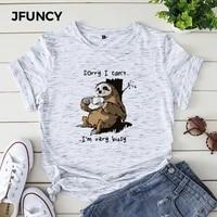 jfuncy busy sloth cartoon mujer shirts plus size summer tshirt 100 cotton woman t shirt korean women tops harajuku graphic tees