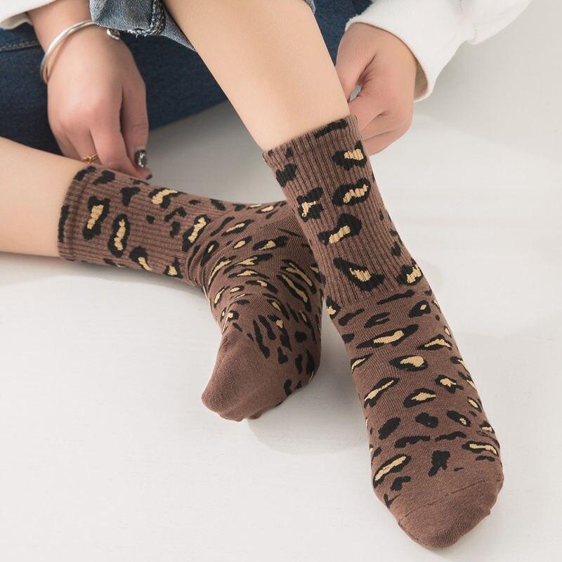 Новинка, модные женские носки с леопардовым принтом, весна-осень, популярные носки с леопардовым принтом, сексуальные модные теплые носки с ...