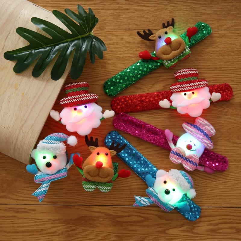 8 unids/lote Led luminoso Auto parche pulsera Navidad muñeca felpa suave peluche Santa Claus árbol Elk regalo juguetes para chico niñas