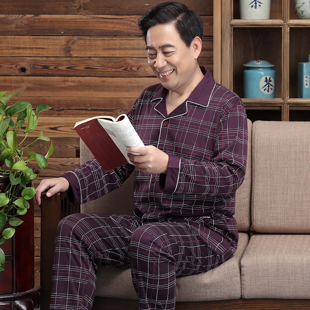 Весна Лето Хлопок Пижама Мужчина Средний Повседневный Мужской Плюс Размер Комфорт Пижама Комплекты Мода Вышивка Плед Пижамы Для Мужчин